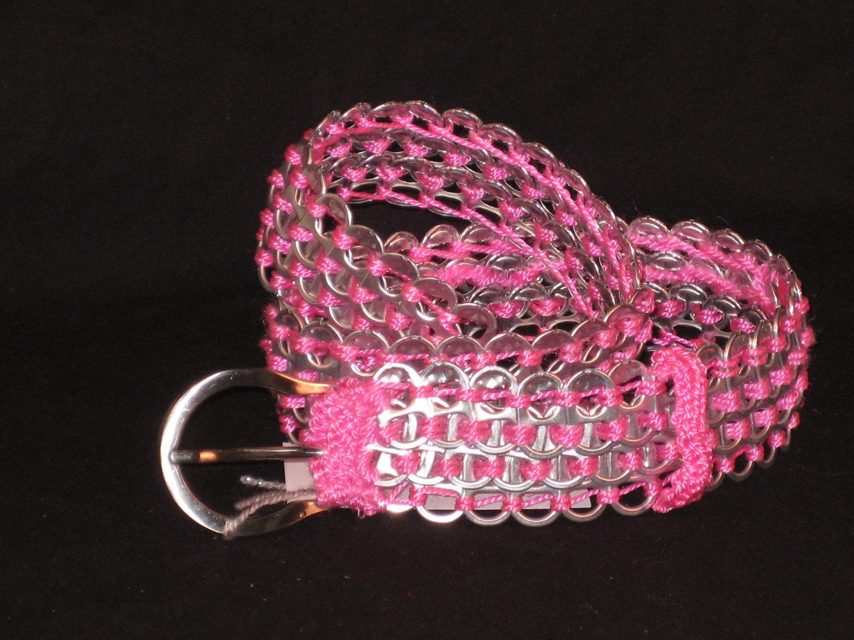 Soda pop tabs crafts - Pop Tab Belt Pink